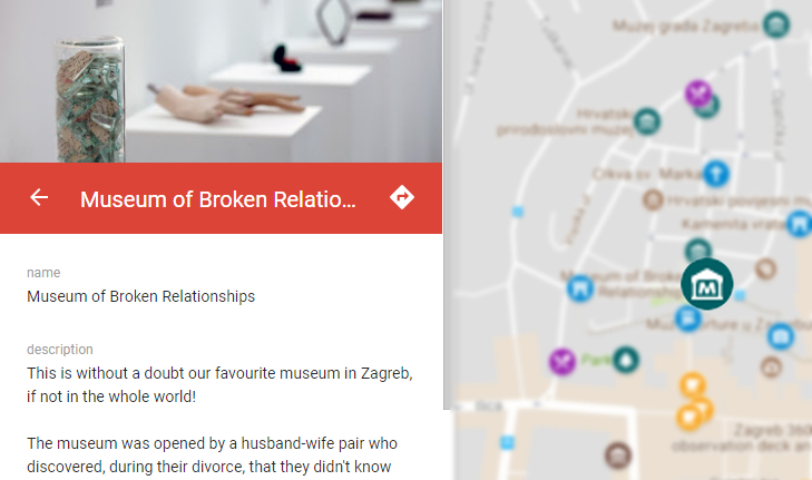 An excerpt from an online guide to Zagreb in the form of an interactive map, by Apartment Zlata, an apartment in Zagreb offering tourist accommodation